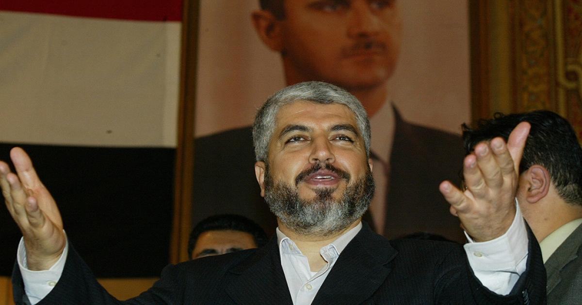 Hamas' exiled supreme political leader, Khaled Meshaal, addresses students at Damascus University, 03 May 2006.</p>