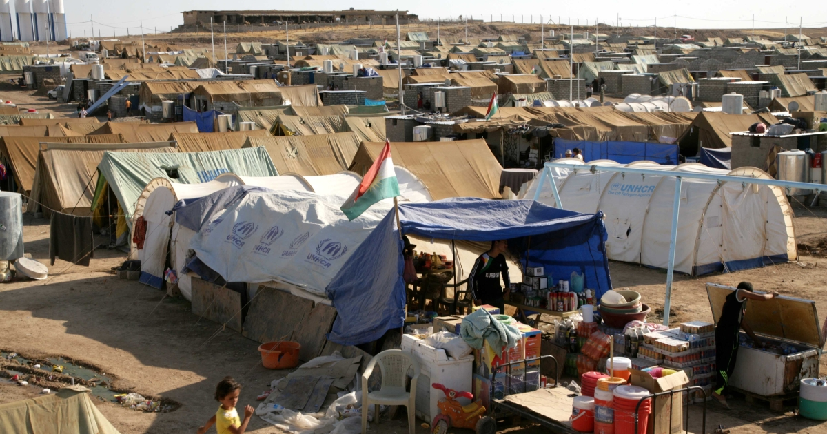 A general view of the Domiz refugee camp, 20 km southeast of Dohuk city, in northern Iraq, on August 24, 2012. The camp hosts Syrian-Kurds of all stripes, from soldiers who did not want to kill their countrymen to people trying to escape the violence across the border in neighboring Syria.</p>