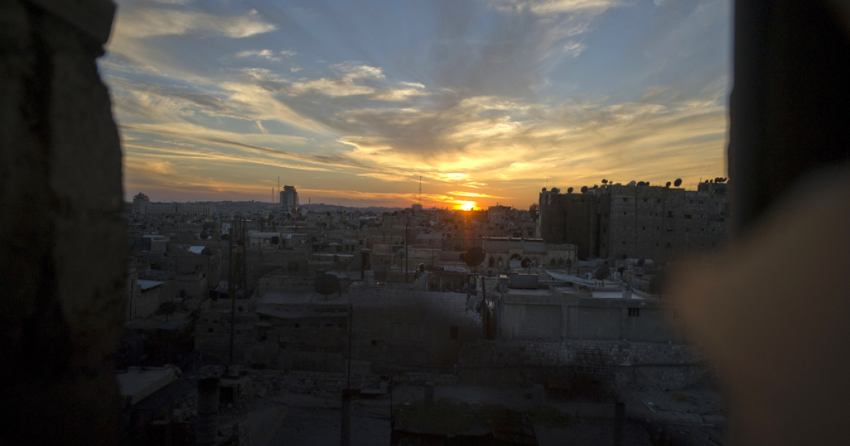 Syria's northern city of Aleppo at sunset on Oct. 12, 2012.</p>