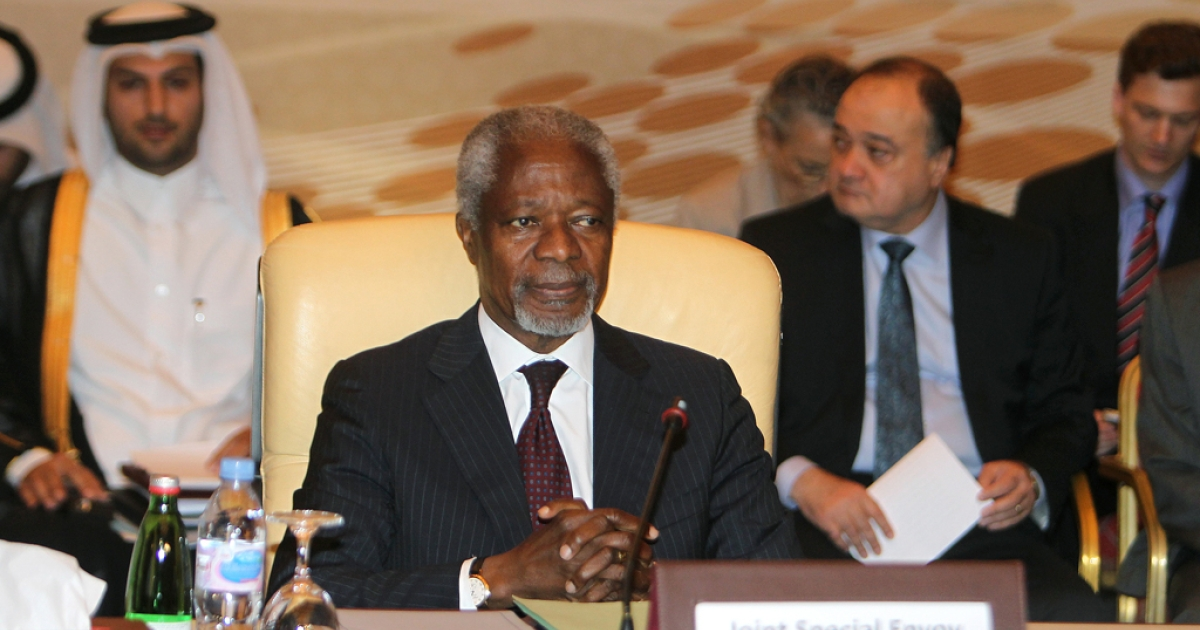 Kofi Annan, UN-Arab League envoy to Syria, attends an Arab ministerial committee meeting in Doha to discuss the Syrian crisis on June 2, 2012. Qatar urged Annan to set a timeframe for his Syria peace mission, and asked the UN Security Council to apply Chapter VII which permits military intervention.</p>