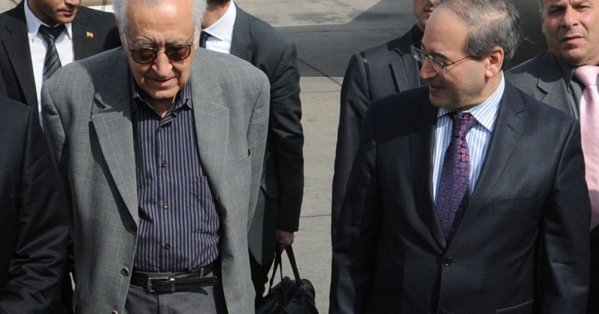 Syrian Deputy Foreign Minister Faisal Meqdad, right, welcomes international peace envoy Lakhdar Brahimi to Damascus airport on October 19, 2012. Brahimi bids to secure a ceasefire in Syria's 19-month conflict following his regional tour to countries that play influential roles in the crisis.</p>