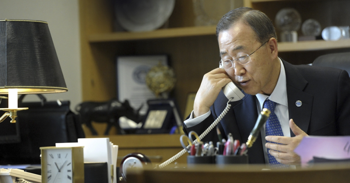 In this handout image provided by the United Nations, UN Secretary general Ban Ki-Moon makes a phone call to Syrian President Bashar al-Assad May 4, 2011 at United Nations headquarters in New York City. Ban Ki-Moon called for an immediate end to violence against peaceful demonstrators as well as an end to the wave of mass arrests.</p>