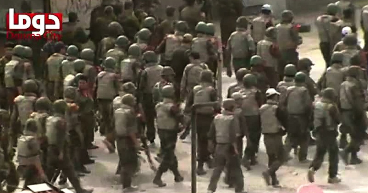 An image grab taken from YouTube shows Syrian troops deploying in Duma, near Damascus, on April 30, 2012. Uploaded videos have played a key role in the propaganda battle during Syria's civil war.</p>