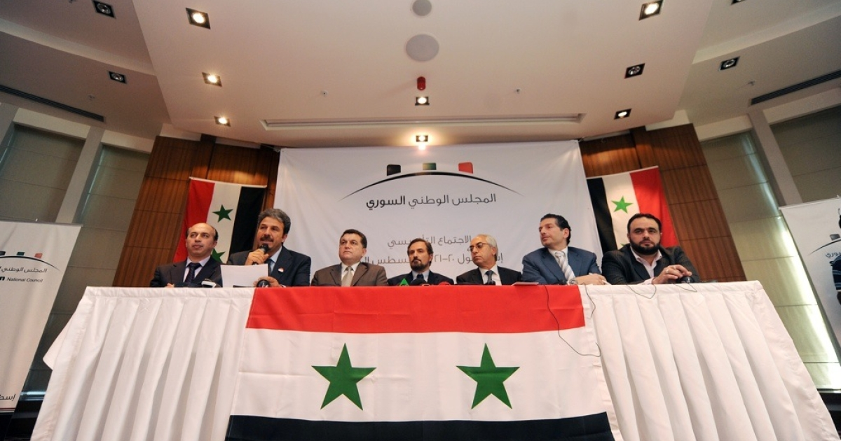 Syrian dissidents give a press conference following a gathering in Istanbul on Aug. 23, 2011.</p>