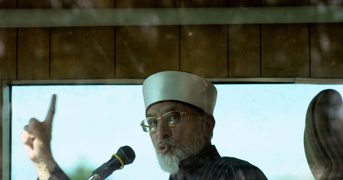 Pakistani cleric Tahirul Qadri chants during a protest rally in Islamabad on Jan. 15, 2013.</p>