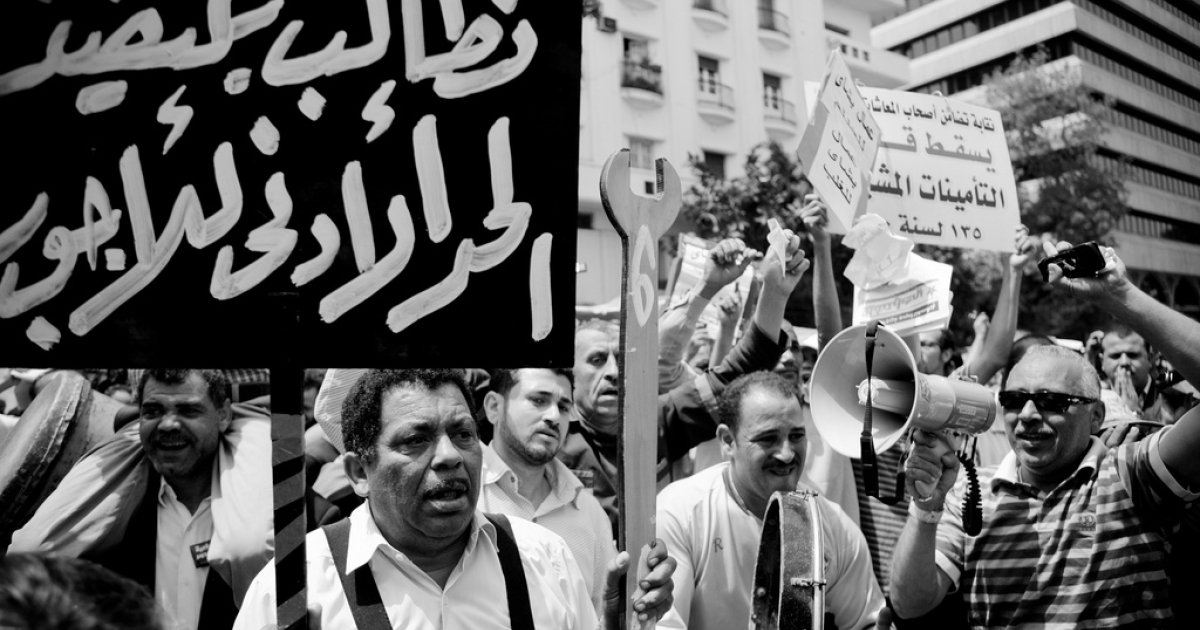 Workers rally for social justice in Tahrir Square in Cairo on May 1, 2012.</p>