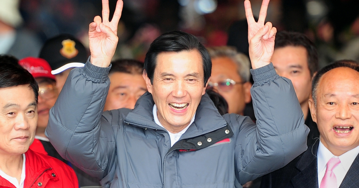 Taiwan President and ruling Kuomintang (KMT) presidential candidate Ma Ying-jeou on his re-election campiagn tour in Hsinkang, in Taiwan's southern Chiayi county on Jan. 5, 2012.</p>