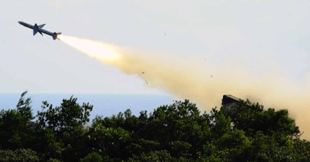 A U.S.-made Sparrow missile is launched from during a live-fire drill on January 18, 2011 in Taiwan. The nation showed its force during an exercise to thwart China's perceived military threat.</p>