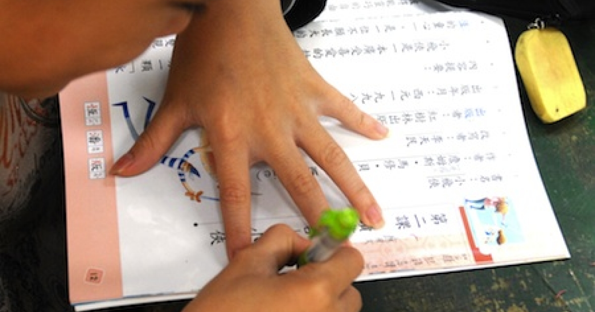 An elementary school student takes notes during class in Taipei, Taiwan's capital, in February 2010.</p>