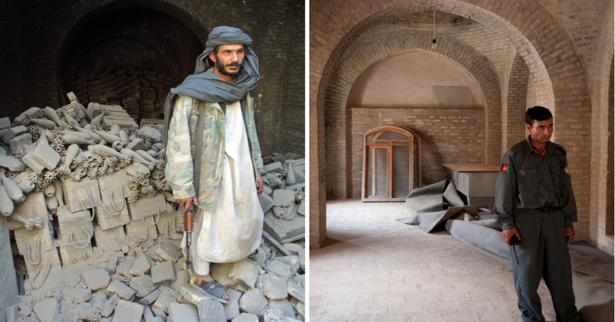 A Northern Alliance soldier (mujahedeen) stands in front of a mortar arsenal left behind by the Taliban militia in 2001 (left), and an Afghan policeman standing in 2009 in the same spot where the Taliban arsenal used to be (right).</p>