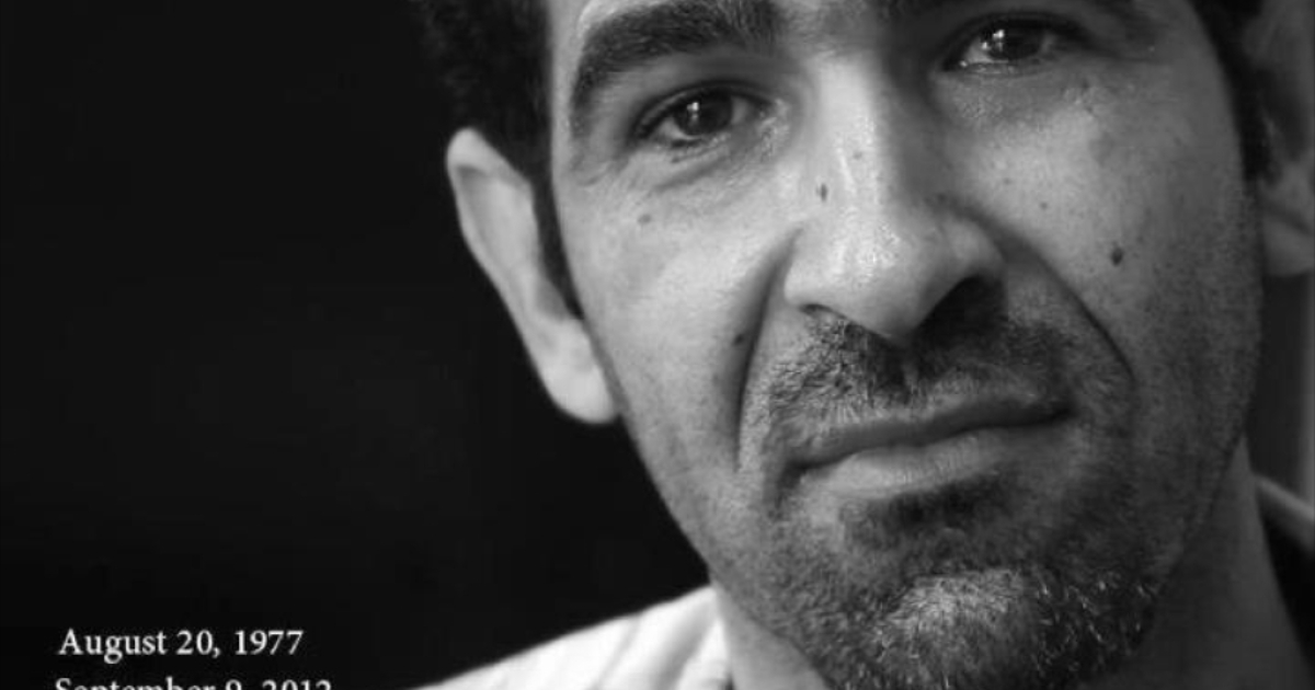 An image mourning the death of Syrian filmmaker Tamer al-Awam.</p>