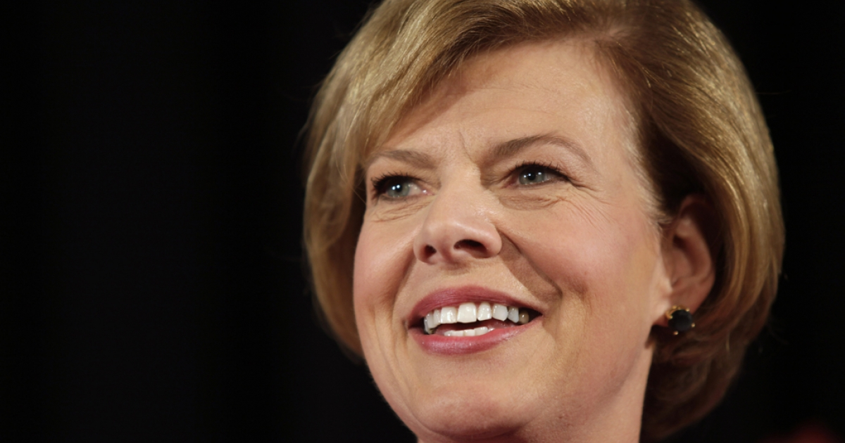 US Senate candidate US Rep. Tammy Baldwin (D-WI) celebrates her victory over Republican candidate Tommy Thompson on election night on November 6, 2012 in Madison, Wisconsin.</p>