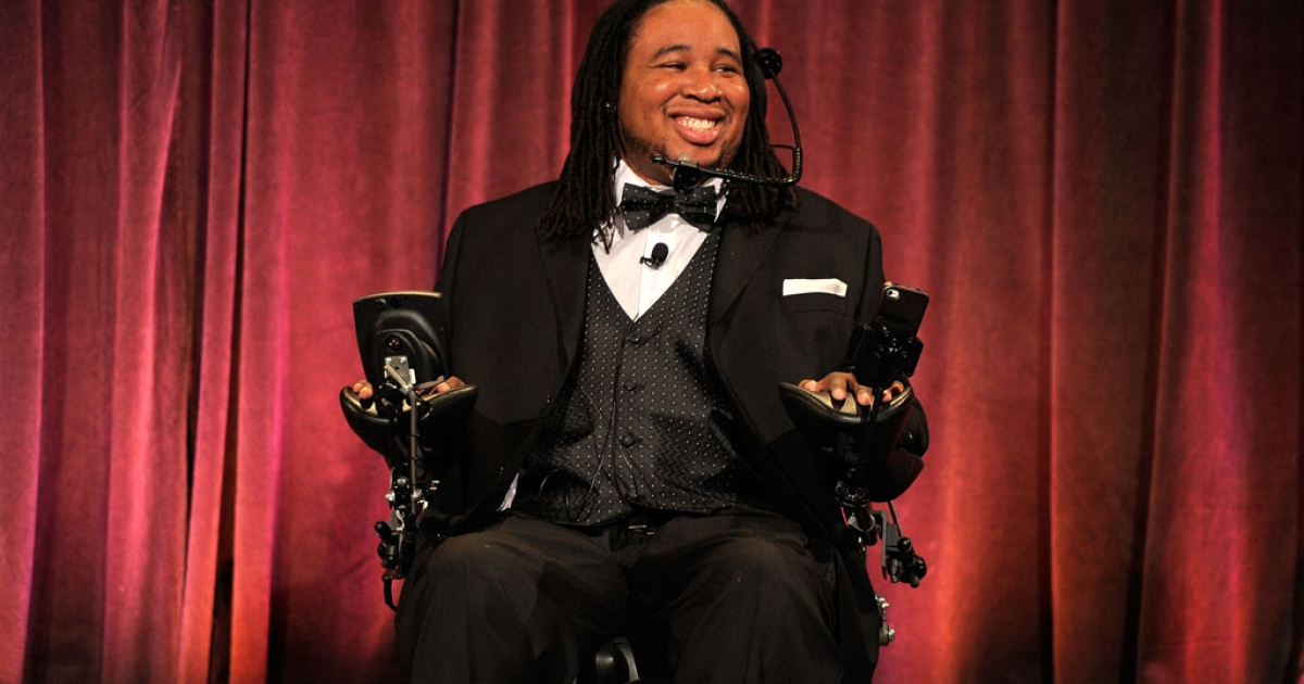 Eric LeGrand speaks at Christopher &amp; Dana Reeve Foundation's A Magical Evening Gala in New York on Nov. 30, 2011. The NFL's Tampa Bay Bucs signed LeGrand, who was paralyzed during a football game in 2010.</p>