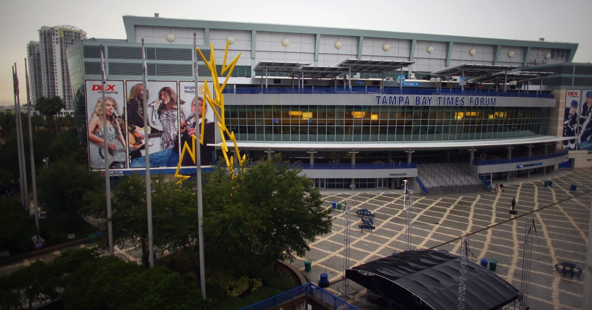 The Tampa Bay Times Forum arena as pictured July 11, 2012, in Tampa Bay, Fla.</p>