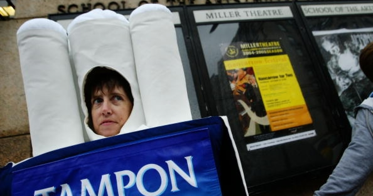 People for the Ethical Treatment of Animals activist Jen Huls stands dressed as a tampon outside of Columbia University during a protest October 19, 2004 in New York. PETA staged a protest alleging that Columbia researchers are conducting cruel menstrual tests on primates and subjecting them to painful conditions.</p>