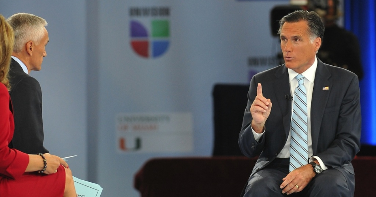 US Republican presidential candidate Mitt Romney appears suspiciously tan on Univision's show