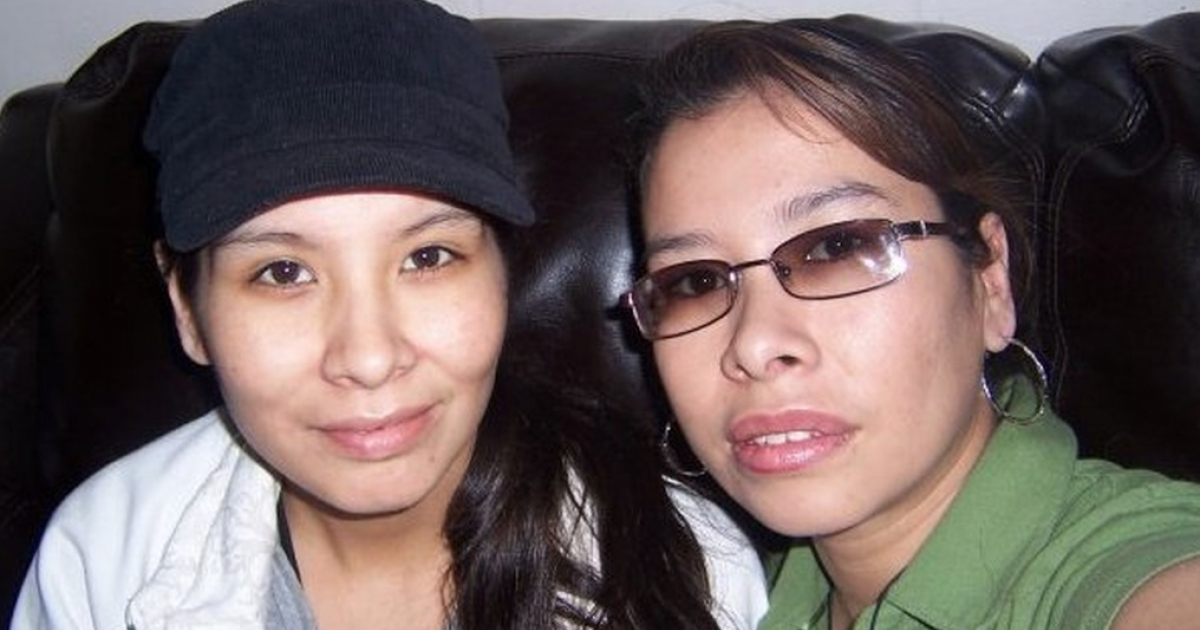 Tanya Nepinak (left) with her sister.</p>