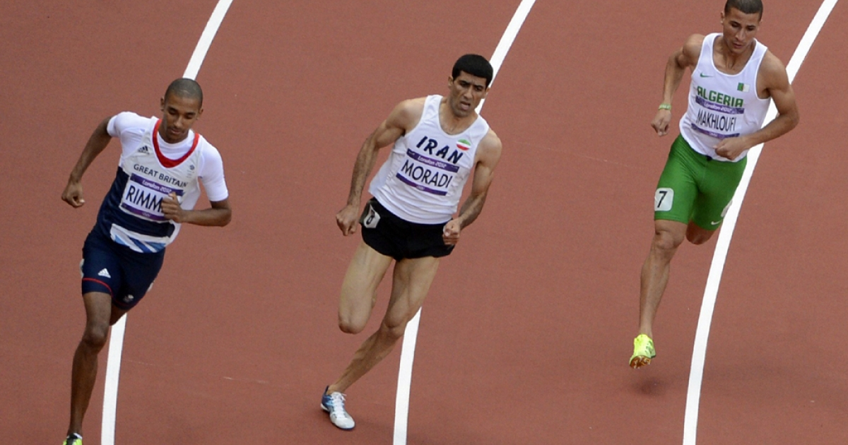 (From left) Britain's Michael Rimmer, Iran's Sajad Moradi and Algeria's Taoufik Makhloufi compete in the men's 800m heats at the London 2012 Olympic Games on Aug. 6, 2012.</p>