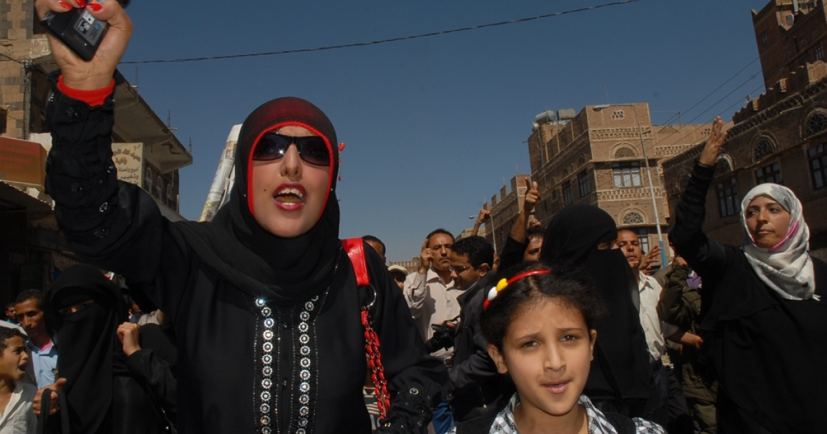 Yemeni activist Tawakkol Karman joins a protest calling for the ouster of Yemen's President Ali Abdullah Saleh in Sanaa on Jen. 29, 2011.</p>