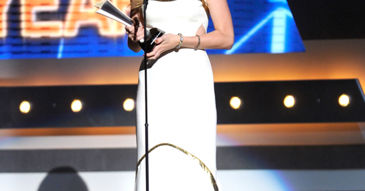 Singer Taylor Swift accepts the Entertainer Of The Year Award onstage at the 47th Annual Academy Of Country Music Awards held at the MGM Grand Garden Arena on April 1, 2012 in Las Vegas, Nevada.</p>