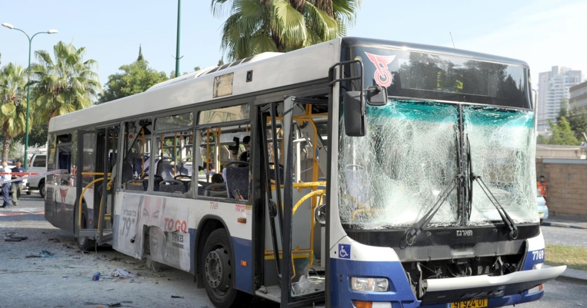 A bus exploded with passengers on board on Nov. 21, 2012 in central Tel Aviv, Israel.</p>