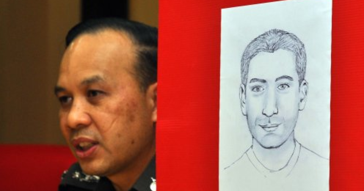 This photo, first released by BangkokBizNews.com, reveals a Thai police sketch of a Lebanese man suspected of plotting bomb attacks against tourists in Bangkok, Thailand.</p>