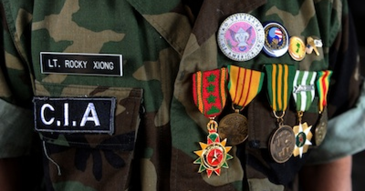 A Hmong war veteran shows his medals at the start of the funeral of Gen, Vang Pao in California on February 4, 2010.</p>
