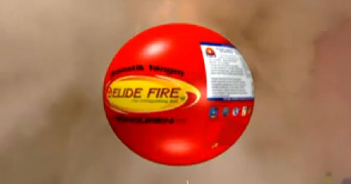 The Elide Fire Extinguishing Ball created by Thai inventor Phanawatnan Kaimart.</p>
