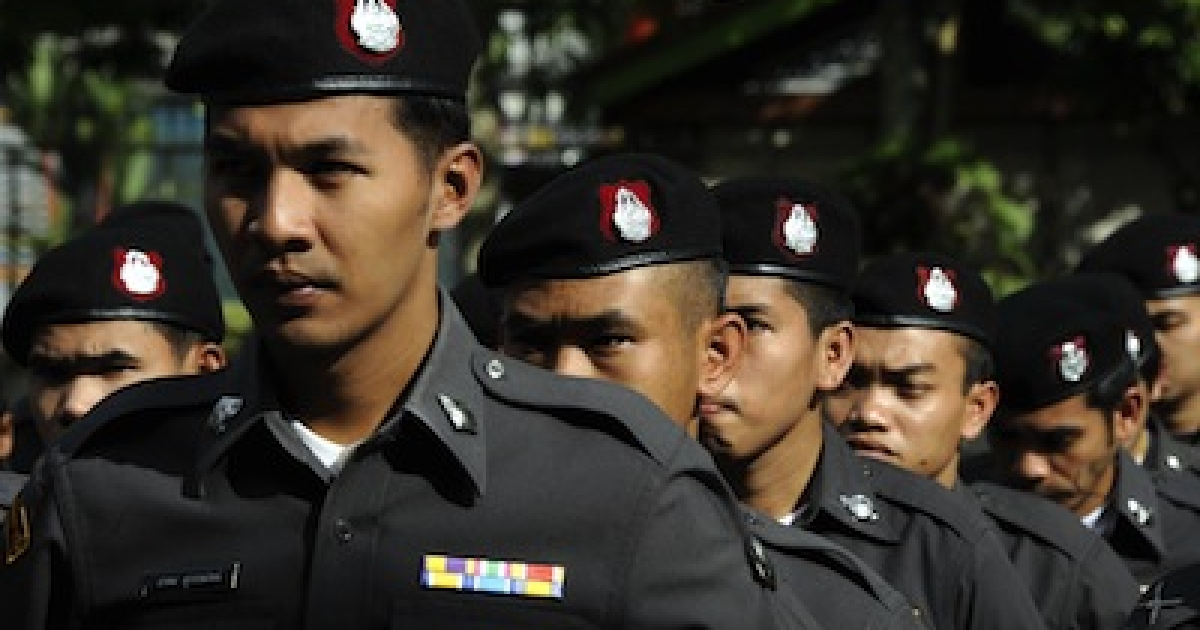 Thai policemen in the southern province of Narathiwat on March 15, 2012.</p>