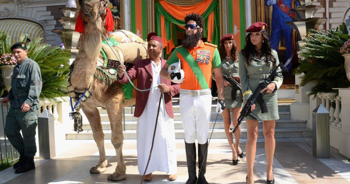 Sacha Baron Cohen in character as Admiral General Omar Aladeen, at the 2012 Cannes Film Festival in France.</p>