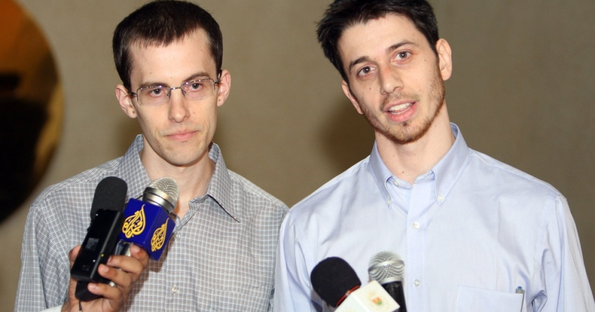 Shane Bauer (left) and Josh Fattal in Oman after their release from Iran.</p>