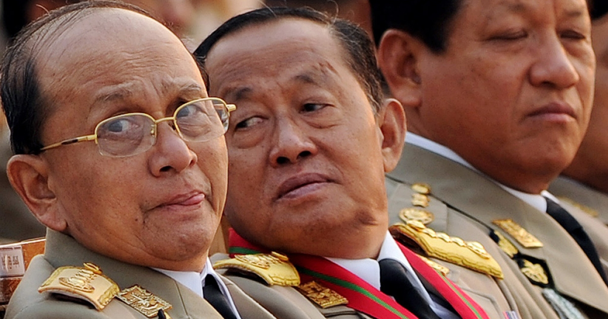 A file picture taken on March 27, 2010 shows Thein Sein, left, sitting along with some of the country's senior leaders ahead of the Armed Forces Day parade in the capital Naypyidaw.</p>