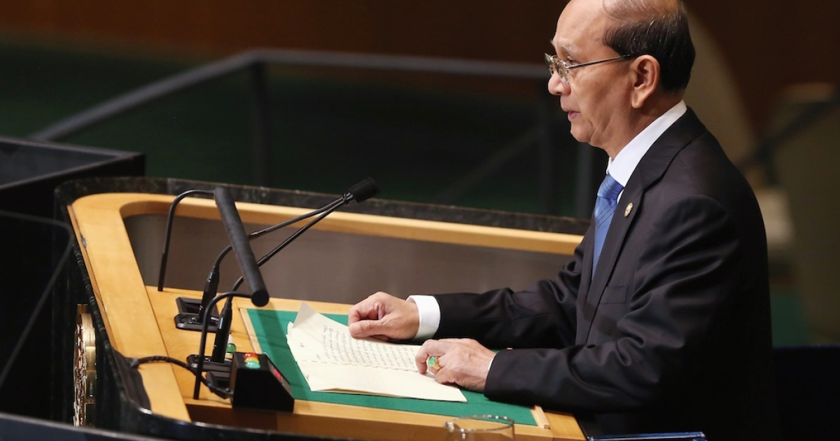 Thein Sein, President of the Republic of the Union of Myanmar, addresses the UN General Assembly on September 27, 2012 in New York City.</p>
