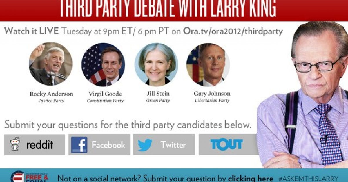 The third party candidates will be going at it Tuesday night, hosted by Larry King.</p>