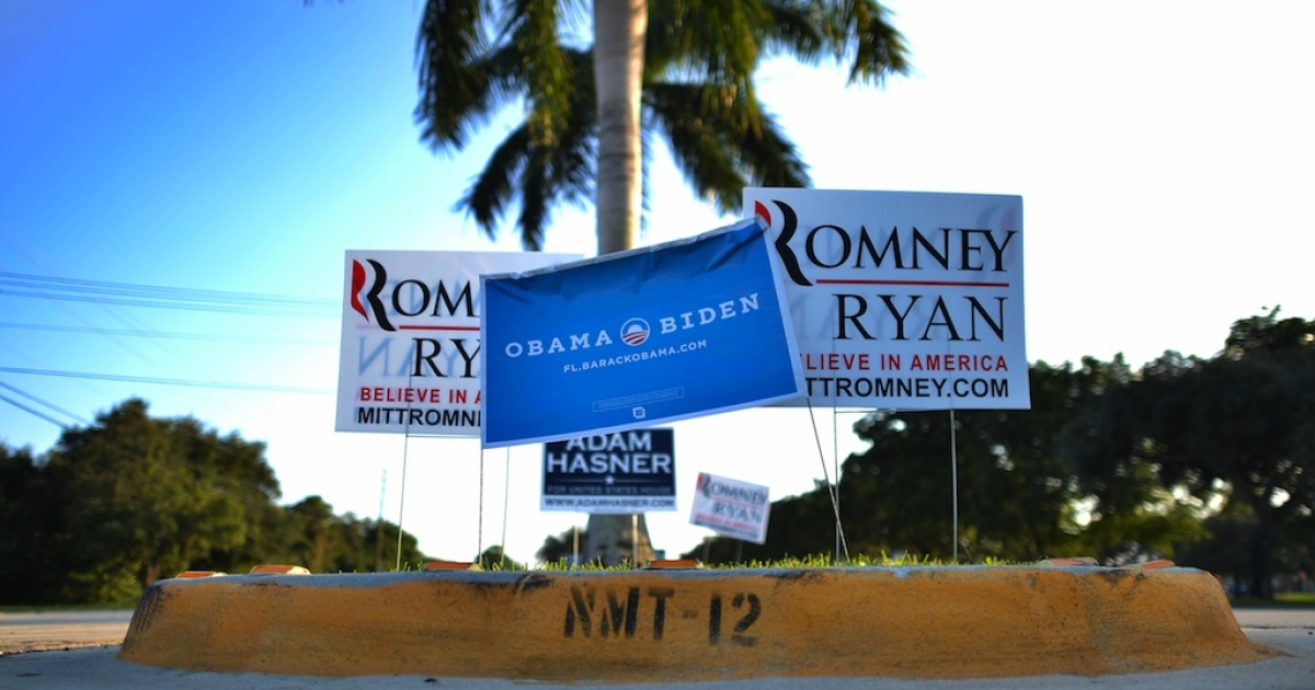 Electoral placards supporting US President Barack Obama and his Republican rival Mitt Romney are seen near Lynn University in Boca Raton, Florida, on October 20, 2012, where the third and final presidential debate will be hosted on October 22. Obama and Romney began boning up on foreign policy ahead of their final debate, with the president opting for Camp David's seclusion and Romney jetting to the showdown site in Florida. As the candidates ducked off the campaign trail, they let their running mates stump for votes in the political battlegrounds that will likely determine the November 6 election.</p>