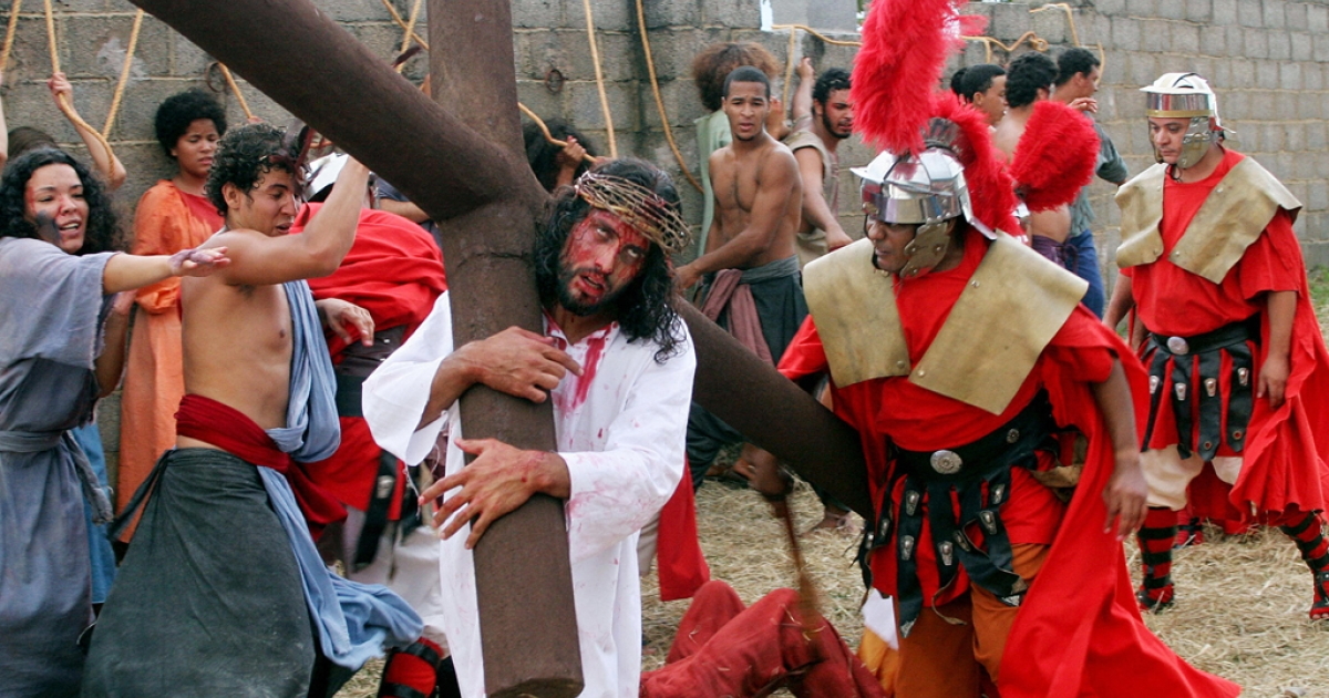 Penitents recreate the Passion of the Christ in Brasilia, Brazil, on Good Friday. Tiago Klimeck, a Brazilian actor, accidentally hanged himself while staging a suicide as Judas on Good Friday in 2012 and was taken off life support on April 22, 2012.</p>