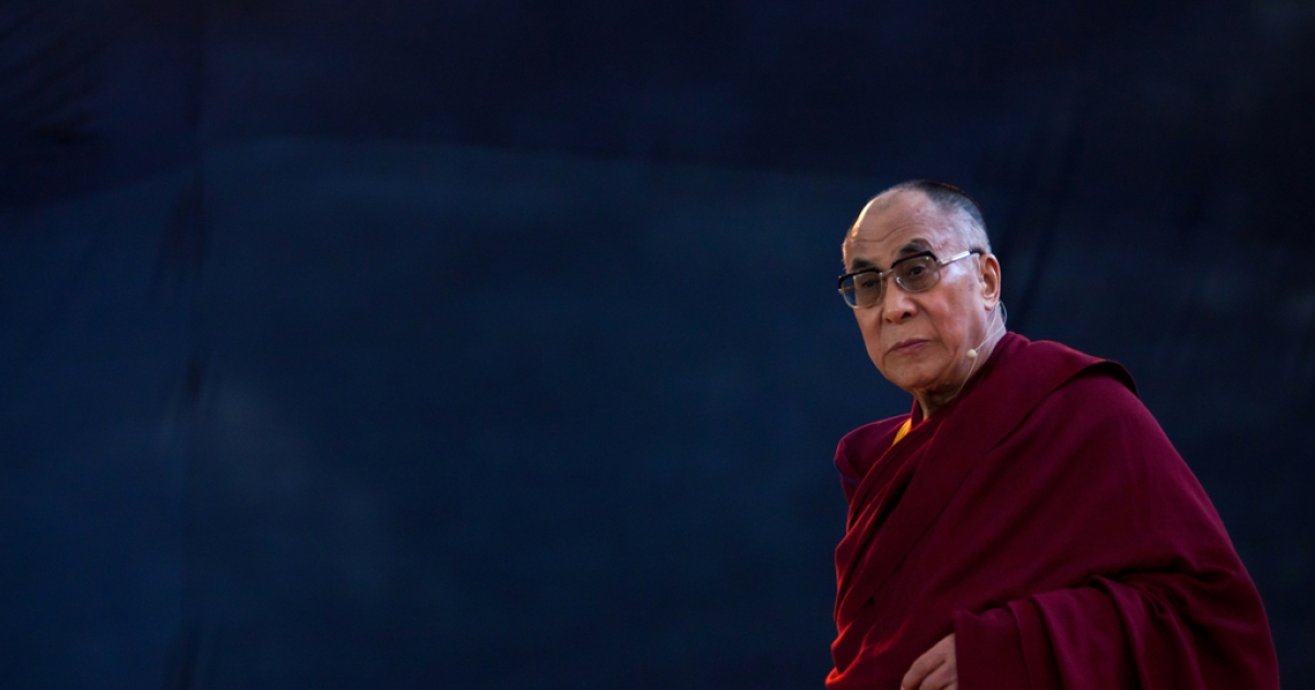 Tibet's exiled spiritual leader Tenzin Gyatso, the 14th Dalai Lama at an open public talk in Sao Paulo, Brazil.</p>