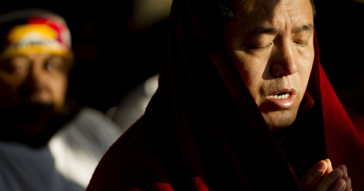 Tibetans and supporters of the Tibetan cause stage a hunger strike in The Hague on Nov. 16, 2011.</p>