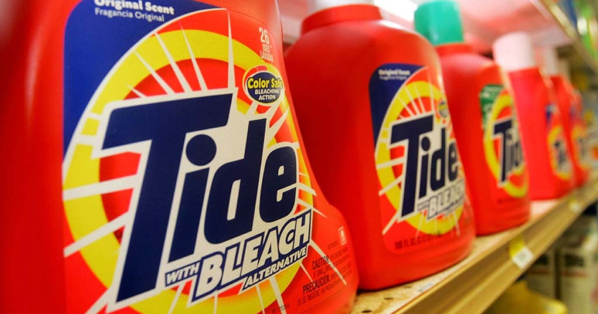 Tide laundry detergent, made by Procter &amp; Gamble Co.,  is seen on display at the Arguello Supermarket in San Francisco.  (Photo by Justin Sullivan/Getty Images)</p>