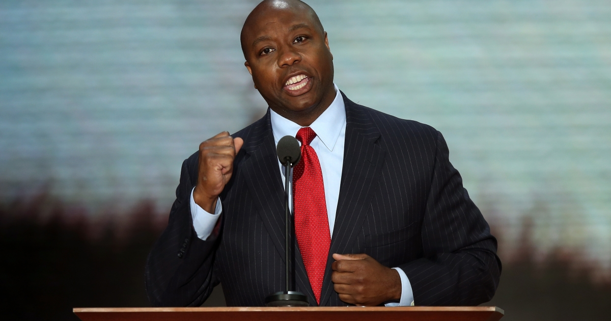 US Rep. Tim Scott (R-SC) during the Republican National Convention in Tampa, Fla., on Aug. 28, 2012.</p>