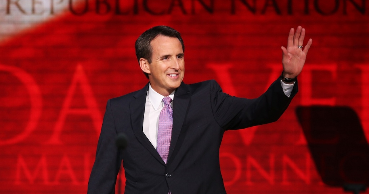 Former Minnesota Gov. Tim Pawlenty waves as takes the stage during the third day of the Republican National Convention. He is stepping down from his role as co-chair of Romney's campaign to be CEO of a major financial lobbying group.</p>