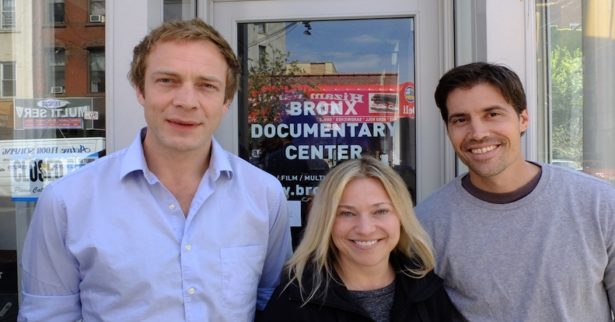 GlobalPost correspondents Tim Grucza, Beth Murphy and Jim Foley pose together at the first three-day session of RISC at the Bronx Documentary Center in New York.</p>