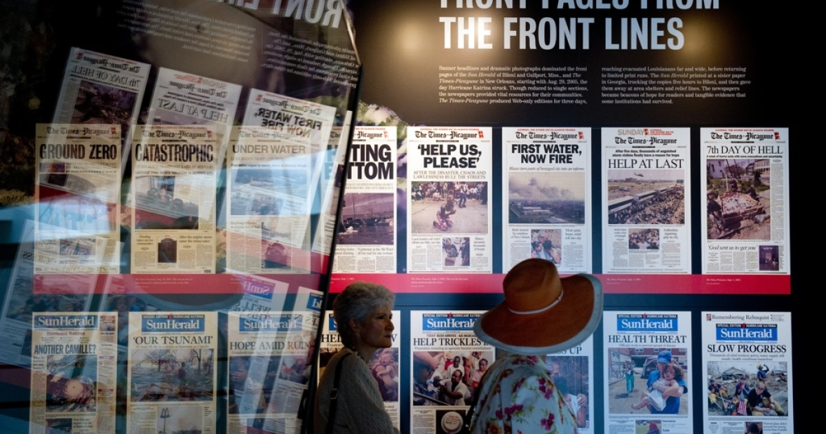 Front pages from the Times-Picayune newspaper in New Orleans and the Sun Herald of Biloxi and Gulfort, Miss., in the 'Covering Katrina' exhibit at the Newseum in Washington, DC, on Aug. 26, 2010.</p>