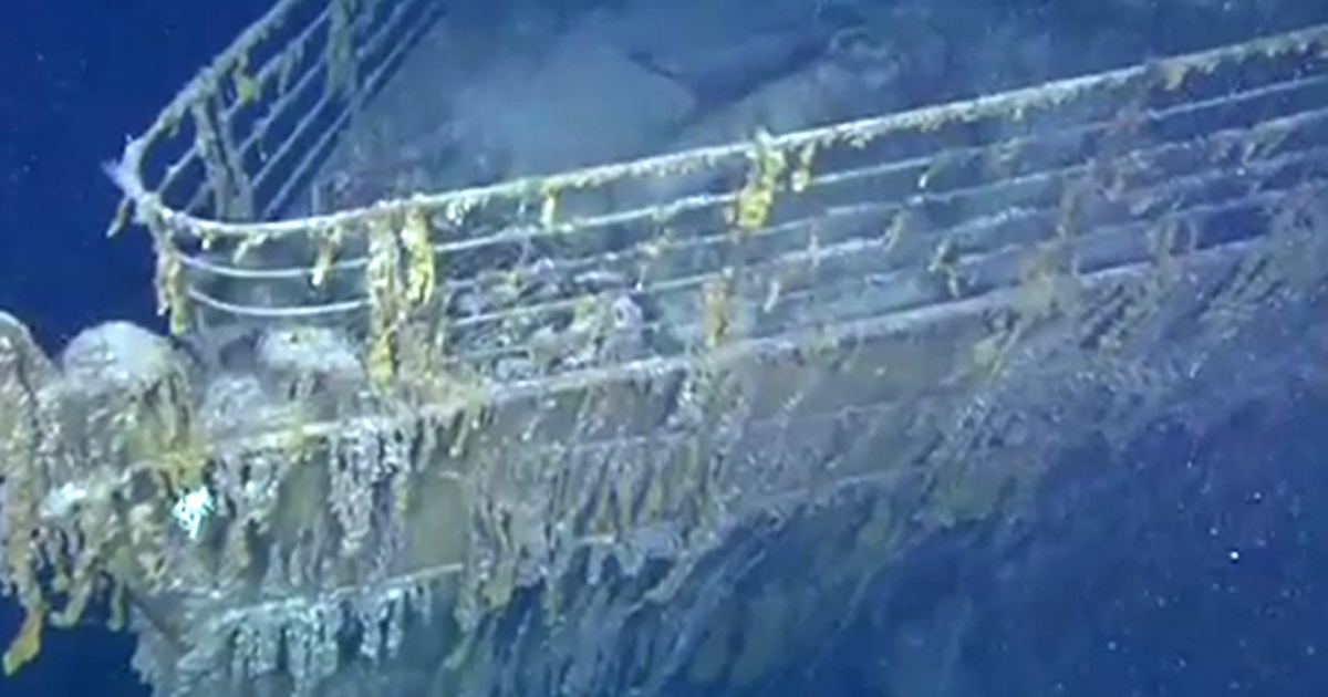 A still image taken from a YouTube video produced by Woods Hole Oceanographic Institution's Advanced Imaging and Visualization Laboratory team shows the bow of the RMS Titanic in 2010.</p>