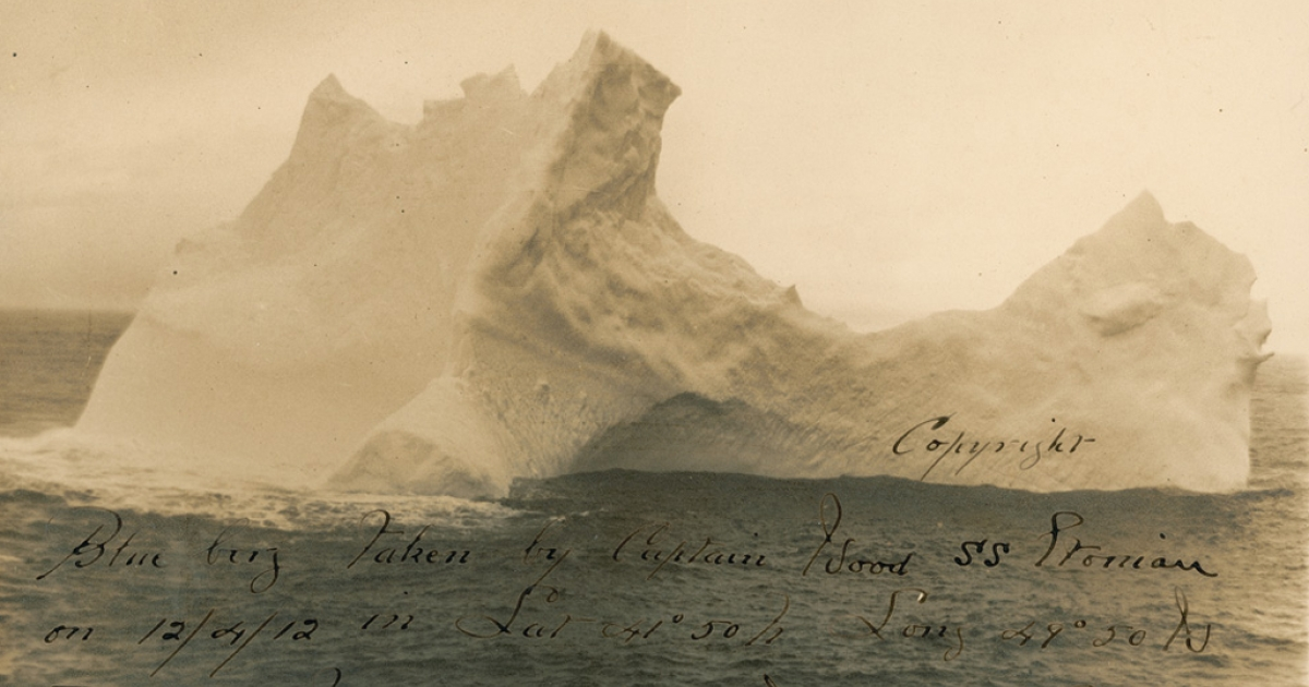 This photo of what is believed to be the iceberg that sank the Titanic in 1912 is going up for auction.</p>