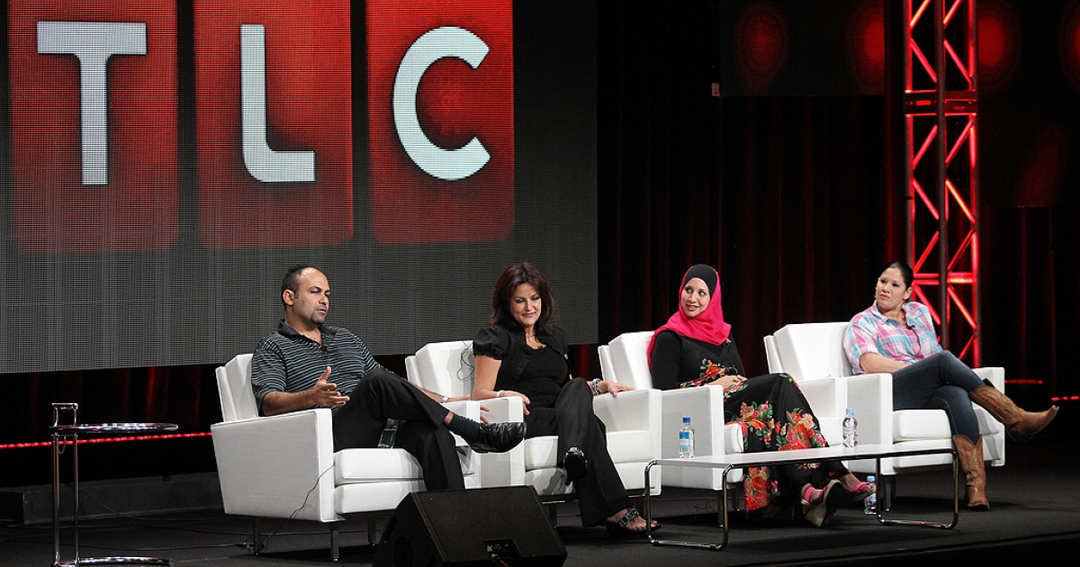 Mike Jaafar, Angela Jaafar, sisters Suehaila Amen and Shadia Amen-McDermott (L-R) speak during the 'All-American Muslim' panel during the TLC Discovery Communications portion of the 2011 Summer TCA Tour held at the Beverly Hilton Hotel on July 28, 2011 in Beverly Hills, California.</p>