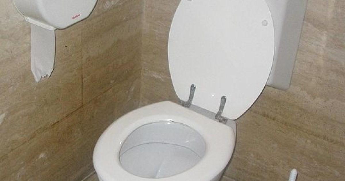 A toilet with a flush water tank.</p>