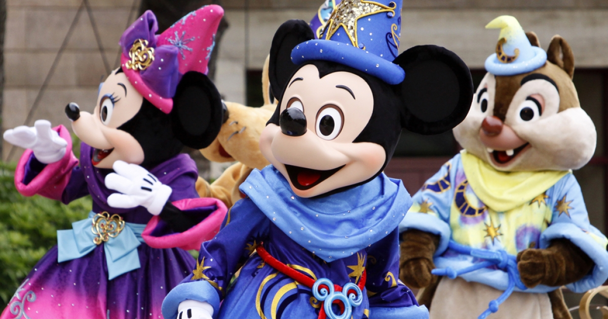 Mickey Mouse and Disney characters greet guests to celebrate the 10th anniversary of Tokyo DisneySea at Urayasu city, suburban Tokyo on September 4, 2011. Tokyo Disney said same-sex couples would be welcome to hold their fairytale weddings at the resorts, even though Japan does not recognize same-sex marriages.</p>