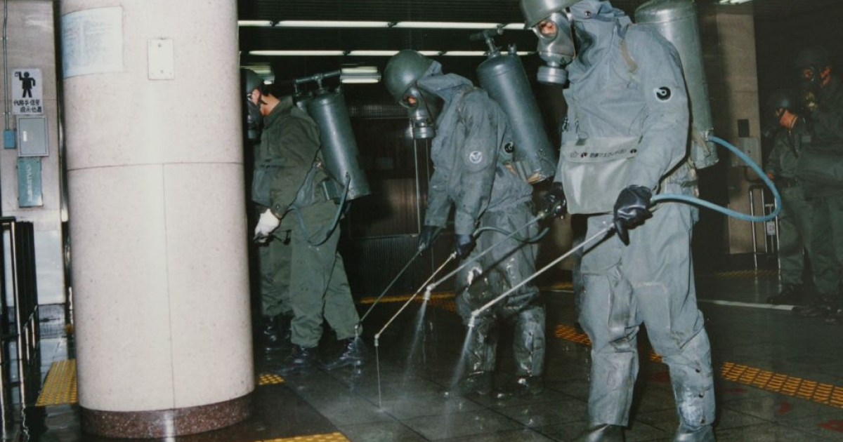 The Aum Shinrikyo cult's 1995 attack on the Tokyo subway left 13 people dead and 6,000 sick. Here, authorities rinse lethal nerve gas off train platforms.</p>