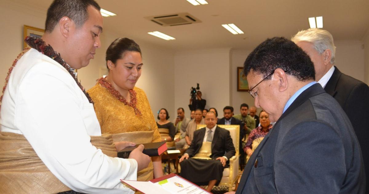 Crown Prince Tupouto'a 'Ulukalala, left, and Sinaitakala Fakafanua receive their marriage license at the Royal Palace in Nuku'alofa, Tonga, on July 10, 2012.</p>